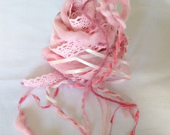Art Fiber Bundle - Pretty in Pink, Weaving, Spinning, Pink
