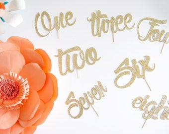 One to Ten Cake Toppers, 1st to Tenth Birthday, Glitter Number and Pick Color, Dessert Decoration, Baby, Kid, Boy Girl, Wedding Anniversary