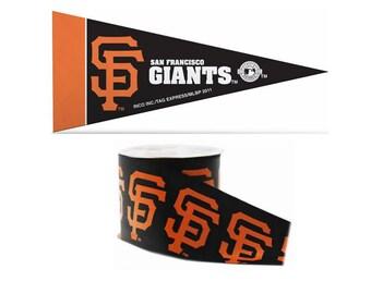 "2.5"" MLB San Francisco Giants Ribbon, 9 feet & Mini Pennant, Licensed MLB Offray Ribbon"