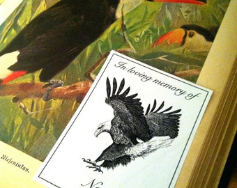 In Loving Memory Booklabels Landing Eagle 15 Personalized Ex Libris Bookplates