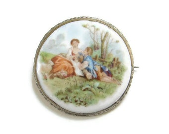 Old Hand Painted Porcelain Brooch Romantic Courting Couple Edwardian