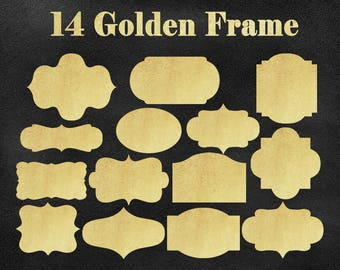 Golden digital frame clipart, gold frame digital art supplies, digital labels, clipart frame, frame clipart, commercial free, commercial use