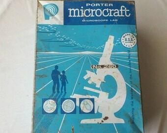 Vintage Teal Metal Box Porter Microcraft