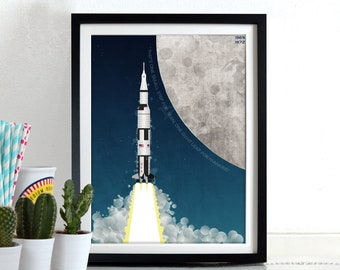 Apollo Space Rocket Moon landing Spaceship Wall Art Hanging Print Home Décor Poster Neil Armstrong