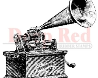 Deep Red Rubber Stamp Gramophone Music Sound Machine