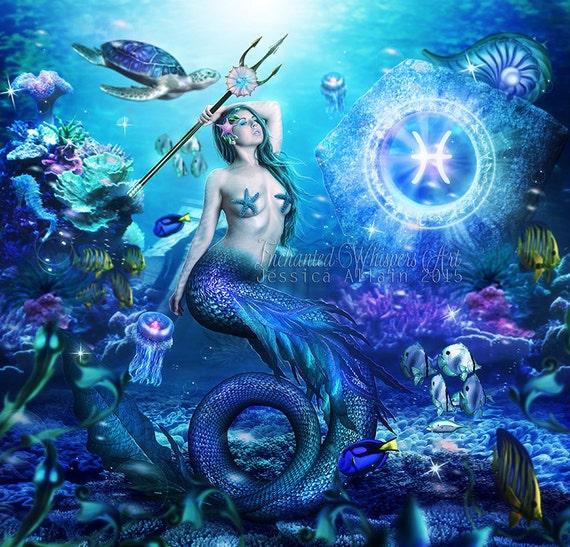 Pisces fantasy mermaid art print