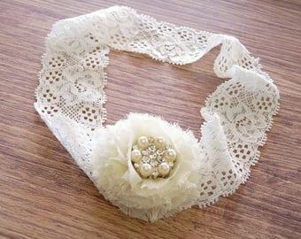 Ivory Lace Headband, Baby Lace Headband, Baby Headband, Newborn Baby Headband, Ivory Headband, Vintage Lace headband, Toddler Lace Headband