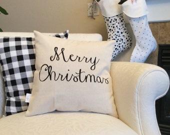 Merry Christmas Saying Pillow, Canvas Saying Pillow, Christmas Pillow Cover, Holiday Cushion, Christmas Throw Pillow, Christmas Decor