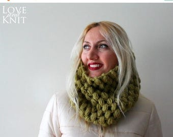 Sale Womens Cowl- Olive Green Cowl Scarf-Mens Cowl- Chunky Cowl- Circle Scarf- Infinity Scarf- Knit Winter Scarf Mohair Wool Scarf Cozy Cowl