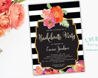 Bachelorette Party Invitation, Black & White Stripe, Floral Glitter Bachelorette Invitation, Hens Party Invitation, Glitter Invitation