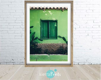 Cactus House Print, Green,Digital Download, Bottle Green, Trending, Tropical Luxe, Rustic, Cactus, Summer Vibe, Wall Art, Print, Photography