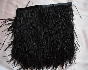 10 yards Ostrich Feather Fringe trim 10-15 cm (4-6 inch), black