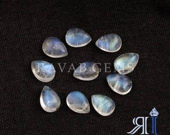 Supereb Shiny Natural Rainbow Moonstone Pear Shape Cabochon Gemstone Wholesale Loose Gemstone 5 Piece