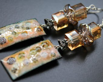 Artisan enamel earrings, Swarovski crystal earrings, long OOAK lampwork sterling silver earrings, peach and topaz tones fall earrings, gift