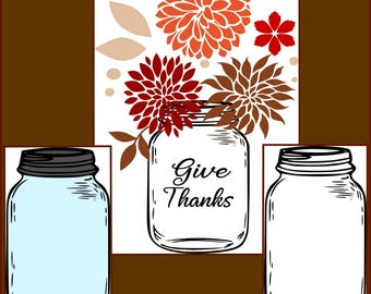 Mason Jar SVG - Fall Layered, outline and silhouette Mason Jar designs- made for cricut and silhouette