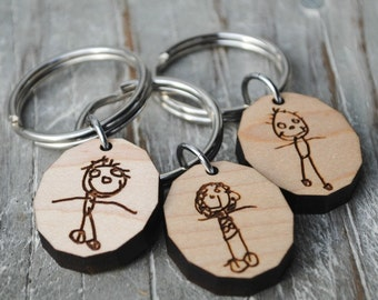 Your Child's Art Personalized Sketch Custom Handwriting Keychain or Necklace Kid Art Child's Drawing Gift for Mothers Day Fathers Day