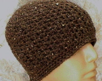 Barley taupe brown beanie hat, skull cap, toque, crochet beanie hat, brown hat, crochet hat, mens womens hat, chemo cap, ski skateboard hat