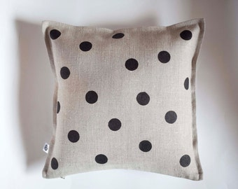 Spotted pillow cover from natural linen for boho pillow collection 0356