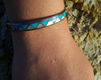 Vintage 60's Silver Cuff in Triangle Design Turquoise and Abalone Shell Cuff / Bangle