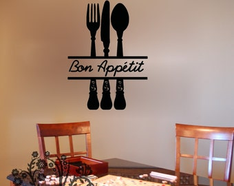 Ordinaire Bon Appetit   Wall Decals   Wall Vinyl   Wall Decor   Kitchen Wall Decal    Kitchen Wall Vinyl Saying   Kitchen Decor Saying