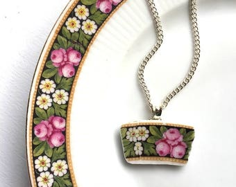 Broken china jewelry - china pendant necklace with chain - antique china shard pendant - pink roses white daisy - Dishfunctional Designs