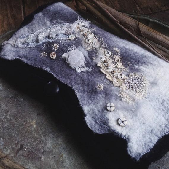 Rustic boho handmade bag | black velvet and embellished hand felted clutch