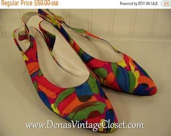 Vintage 80s Bruno Magli Italian Shoes Slings Pumps Multi Colored Heels sz 7 1/2 AA