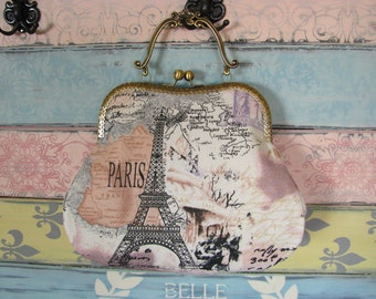 Romantic evening clutch purse with Eiffel Tower, kiss lock purse, metal frame purse, purse with handle