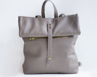 Leather Backpack in Taupe / Leather Backpack / Leather Bag / Gray Leather Bag / Big Backpack / Gray Backpack / Unisex backpack