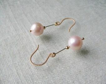 pearl earrings dangle drop earrings, bridal earrings wedding earrings, dainty gold filled modern minimalist earrings freshwater pink pearls