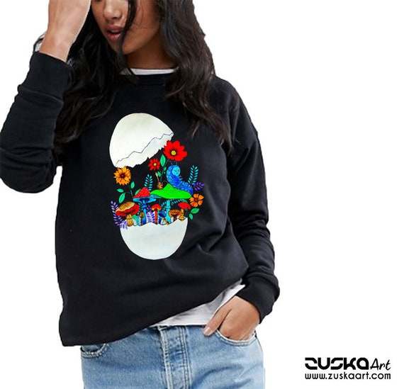 Smoking caterpillar | Unisex Crewneck Sweatshirt | Absolem | Alice in wonderland | Magic mushrooms | Psychedelic art | ZuskaArt