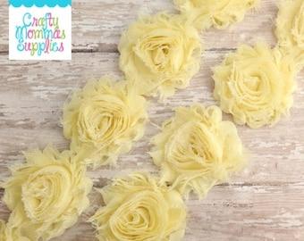 ON SALE Light Yellow Shabby Rose Trim, 1/2 Yard, Shabby Flower, Baby Headbands, Scrapbooking, Chiffon Trim, Wholesale Flowers, Supplies