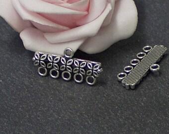 rectangle connectors 10 x 11 mm x 25 mm COA158 antique silver metal