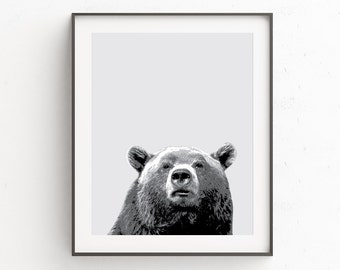 Bear Print Nursery - Animal Prints for Kids Room - Childrens Wall Art Boys - Nursery Decor Gender Neutral