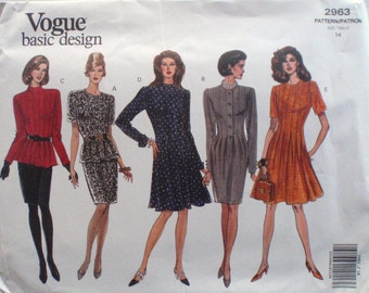 Vogue 2963 Basic Design Sewing Pattern - Semi-fitted Dress or Top With Tucks and Straight Skirt - Size 14, Bust 36, Uncut