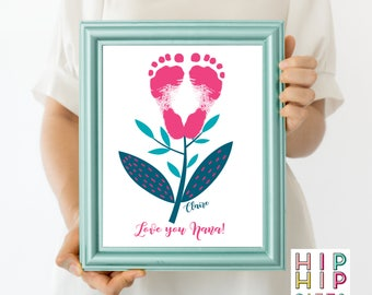 Personalized footprint art with flower, Baby Footprint Art