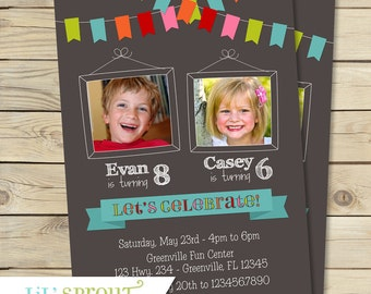 Twin Girl Photo Birthday Invitation Purple Pink Cupcake