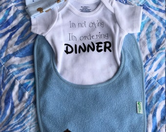 Not Crying Ordering Dinner 3 pc. set~ Shower Gift Grandma Sister Aunt Mom Friend Dad Papa Grandpa
