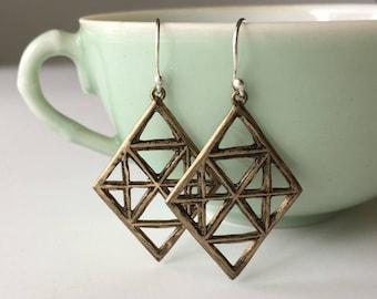Diamond Shaped Earrings, Bronze Earrings, Geometric Jewelry, Rustic Jewelry
