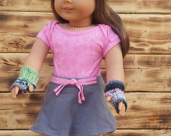 """American Girl 18"""" Doll Knit Beanie And Fingerless Glove Set, Winter Beanie And Fingerless Glove set, Knitted Hat And Glove Set"""