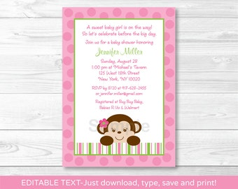 Cute Pink Monkey Baby Shower Invitation / Monkey Baby Shower Invite / Girl Monkey / Pink & Green / INSTANT DOWNLOAD Editable PDF A336