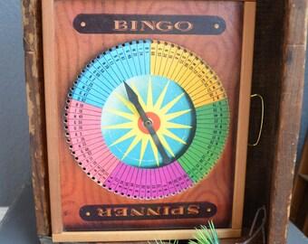 Vintage Bingo Game Wall Hanging Bingo Cards Spinner Bingo Game Board Wooden Case Pink Green Blue Retro Mid Century