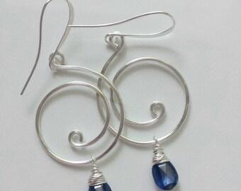 Kyanite Earrings, Silver Kyanite Earrings, Kyanite Jewelry, Silver Swirl Earrings