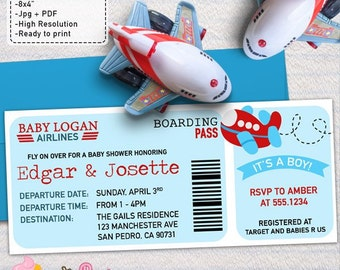 Airplane Baby Shower Boarding Pass Ticket  invitations DIY printable couples baby shower invite