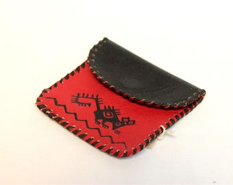SALE 15% OFF* Genuine Llama Leather Coin Purse Pouch Hand Painted (Bolivian Peruvian leather) Wallet