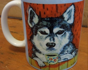 25% off Husky at the cafe coffee shop dog art mug cup