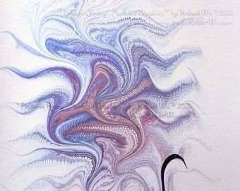 "Phoenix Rising - Original Marbling Art, Hand Marbled Paper, The Original ""Marbled Graphics"" ™ by Robert Wu"
