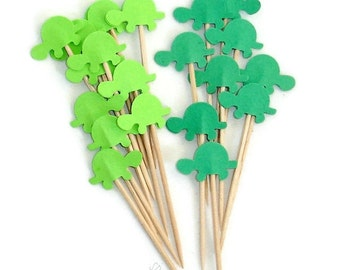 Mixed Green Turtle Cupcake Toppers, Food Picks-Set of 24 pcs