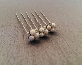 Vintage Inspired hair pin, Wedding hair pin, Rhinestone and Pearls, Bridal Hair Accesory, Wedding Hair Jewelry, Quality Hair Accesories