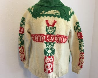 Vintage Cowichan Sweater, Totem Sweater, Vintage Knit Sweater Sweater, Mens Large,Vintage knit sweater, Fair Isle Sweater